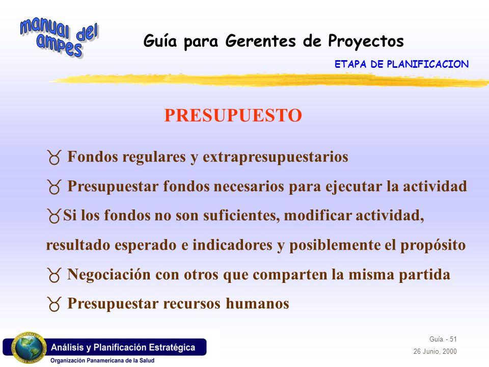 Guía para Gerentes de Proyectos Guía - 51 26 Junio, 2000 PRESUPUESTO _ Fondos regulares y extrapresupuestarios _ Presupuestar fondos necesarios para e