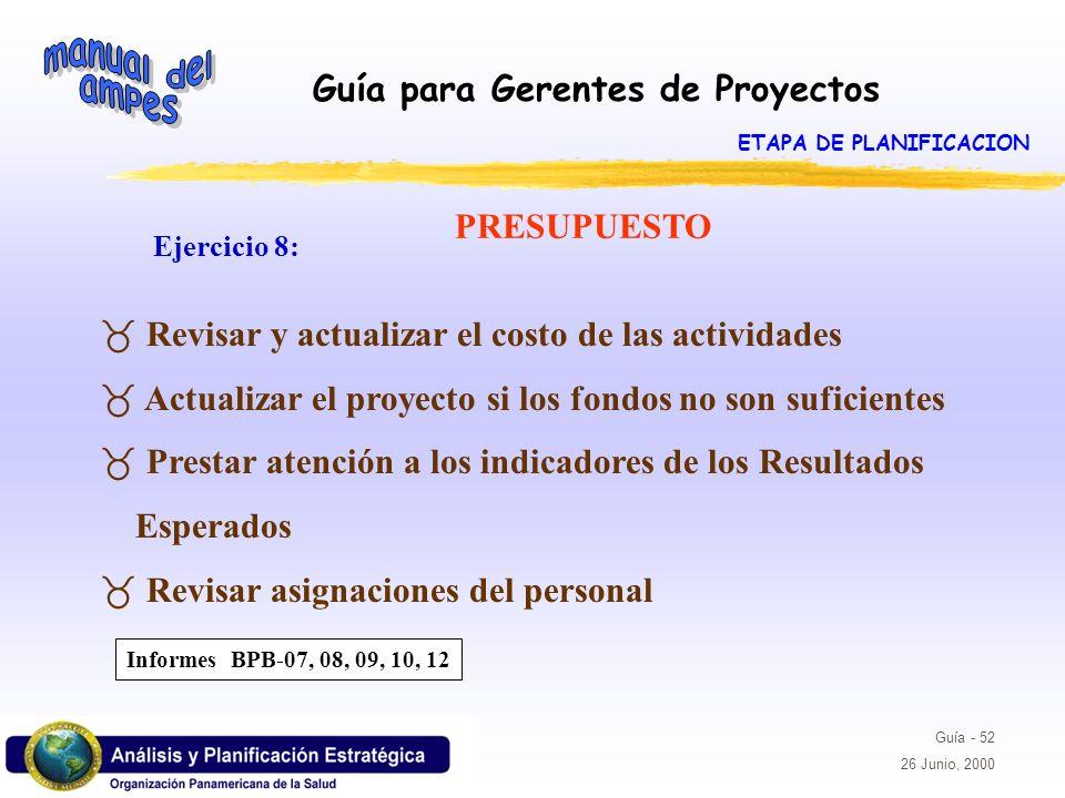 Guía para Gerentes de Proyectos Guía - 52 26 Junio, 2000 PRESUPUESTO Ejercicio 8: _ Revisar y actualizar el costo de las actividades _ Actualizar el p