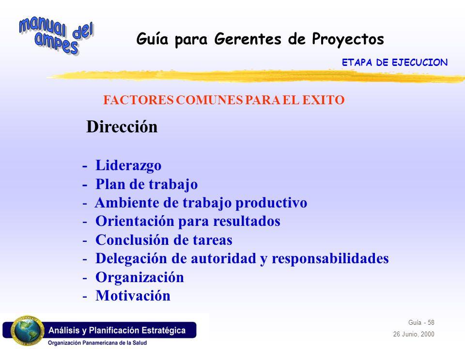 Guía para Gerentes de Proyectos Guía - 58 26 Junio, 2000 FACTORES COMUNES PARA EL EXITO Dirección - Liderazgo - Plan de trabajo - Ambiente de trabajo