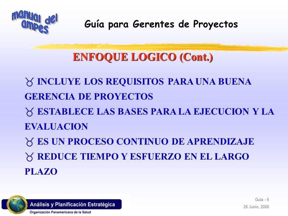 Guía para Gerentes de Proyectos Guía - 37 26 Junio, 2000 _ESTABLECEN EL NIVEL DE DESEMPENO NECESARIO PARA LOGRAR EL OBJETIVO _ESPECIFICAN LOS ELEMENTOS NECESARIOS PARA DETERMINAR SI EL FIN, EL PROPOSITO Y LOS RESULTADOS ESPERADOS SE HAN LOGRADO INDICADORES ETAPA DE PLANIFICACION