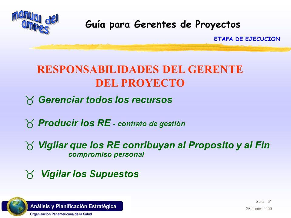 Guía para Gerentes de Proyectos Guía - 61 26 Junio, 2000 RESPONSABILIDADES DEL GERENTE DEL PROYECTO _ Gerenciar todos los recursos _ Producir los RE -