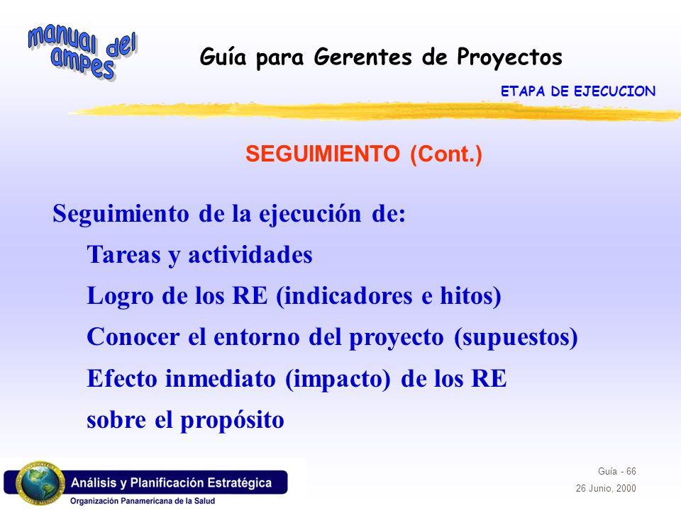 Guía para Gerentes de Proyectos Guía - 66 26 Junio, 2000 SEGUIMIENTO (Cont.) Seguimiento de la ejecución de: Tareas y actividades Logro de los RE (ind