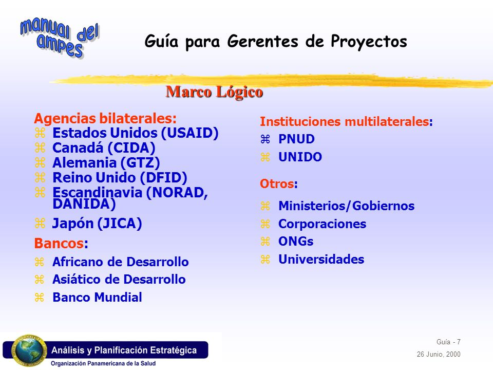 Guía para Gerentes de Proyectos Guía - 7 26 Junio, 2000 Marco Lógico Agencias bilaterales: zEstados Unidos (USAID) zCanadá (CIDA) zAlemania (GTZ) zRei