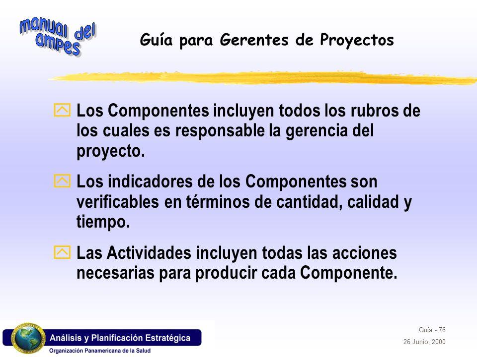 Guía para Gerentes de Proyectos Guía - 76 26 Junio, 2000 y Los Componentes incluyen todos los rubros de los cuales es responsable la gerencia del proy