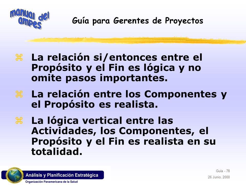 Guía para Gerentes de Proyectos Guía - 78 26 Junio, 2000 La relación si/entonces entre el Propósito y el Fin es lógica y no omite pasos importantes. L