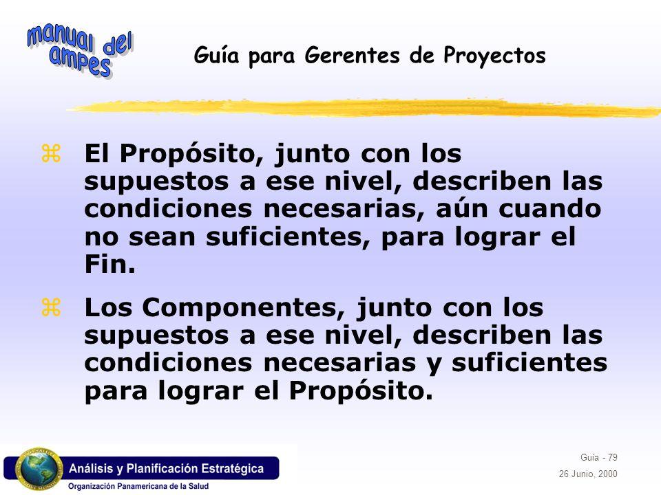 Guía para Gerentes de Proyectos Guía - 79 26 Junio, 2000 El Propósito, junto con los supuestos a ese nivel, describen las condiciones necesarias, aún