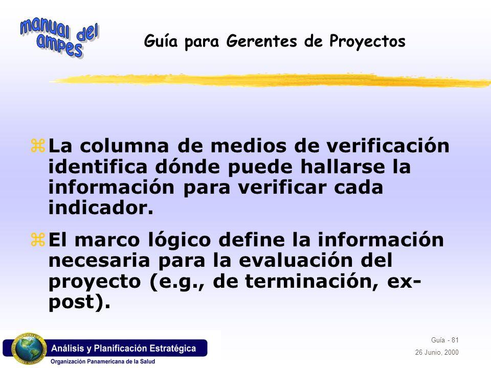 Guía para Gerentes de Proyectos Guía - 81 26 Junio, 2000 La columna de medios de verificación identifica dónde puede hallarse la información para veri