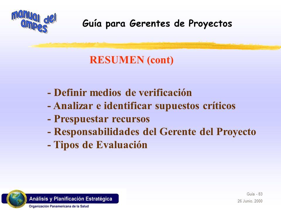 Guía para Gerentes de Proyectos Guía - 83 26 Junio, 2000 - Definir medios de verificación - Analizar e identificar supuestos críticos - Prespuestar re