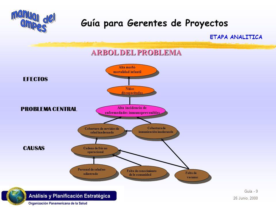 Guía para Gerentes de Proyectos Guía - 10 26 Junio, 2000 Arbol del Problema Ejercicio 1: Construir el árbol del problema a partir del problema central mencionado en el propósito del proyecto.