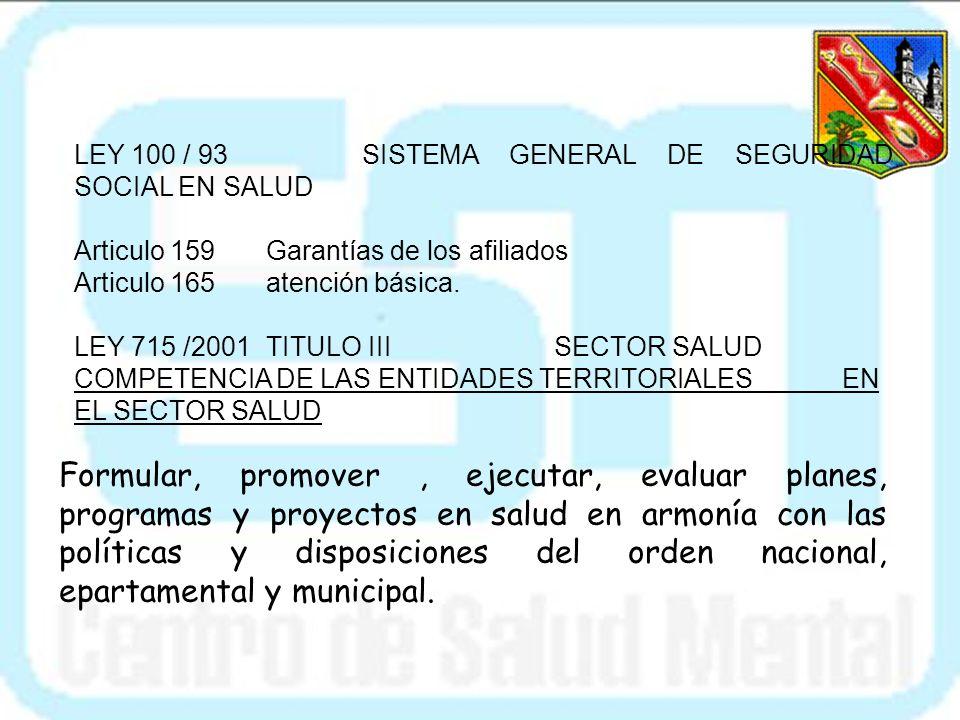 Las siguientes son el marco jurídico que ha permitido la implementación del programa de salud mental en el municipio de envigado: CONTITUCION NACIONAL
