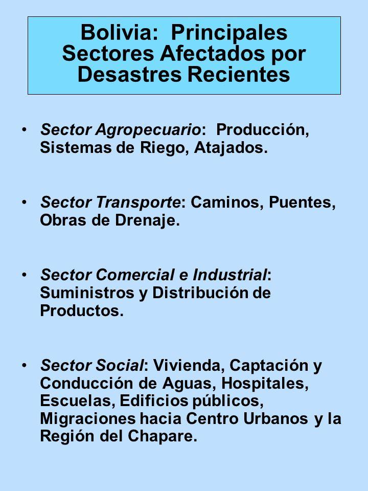 Bolivia: Principales Sectores Afectados por Desastres Recientes Sector Agropecuario: Producción, Sistemas de Riego, Atajados. Sector Transporte: Camin