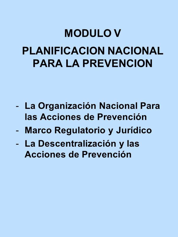 MODULO V PLANIFICACION NACIONAL PARA LA PREVENCION La Organización Nacional Para las Acciones de Prevención Marco Regulatorio y Jurídico La Descent