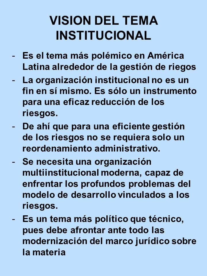 VISION DEL TEMA INSTITUCIONAL Es el tema más polémico en América Latina alrededor de la gestión de riegos La organización institucional no es un fin