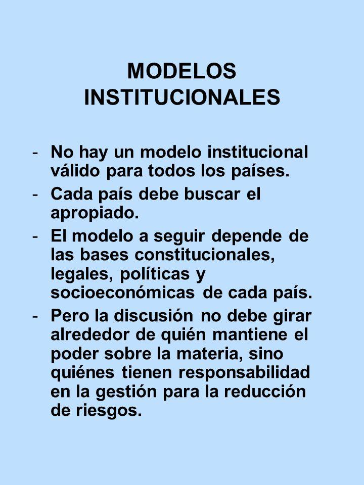 MODELOS INSTITUCIONALES No hay un modelo institucional válido para todos los países. Cada país debe buscar el apropiado. El modelo a seguir depende