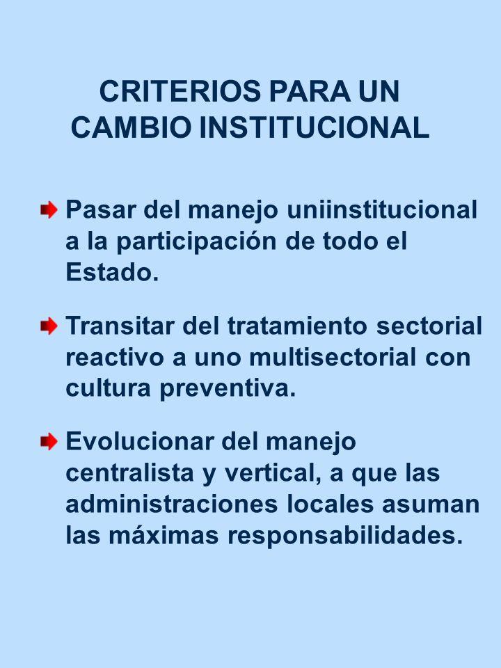 CRITERIOS PARA UN CAMBIO INSTITUCIONAL Pasar del manejo uniinstitucional a la participación de todo el Estado. Transitar del tratamiento sectorial rea