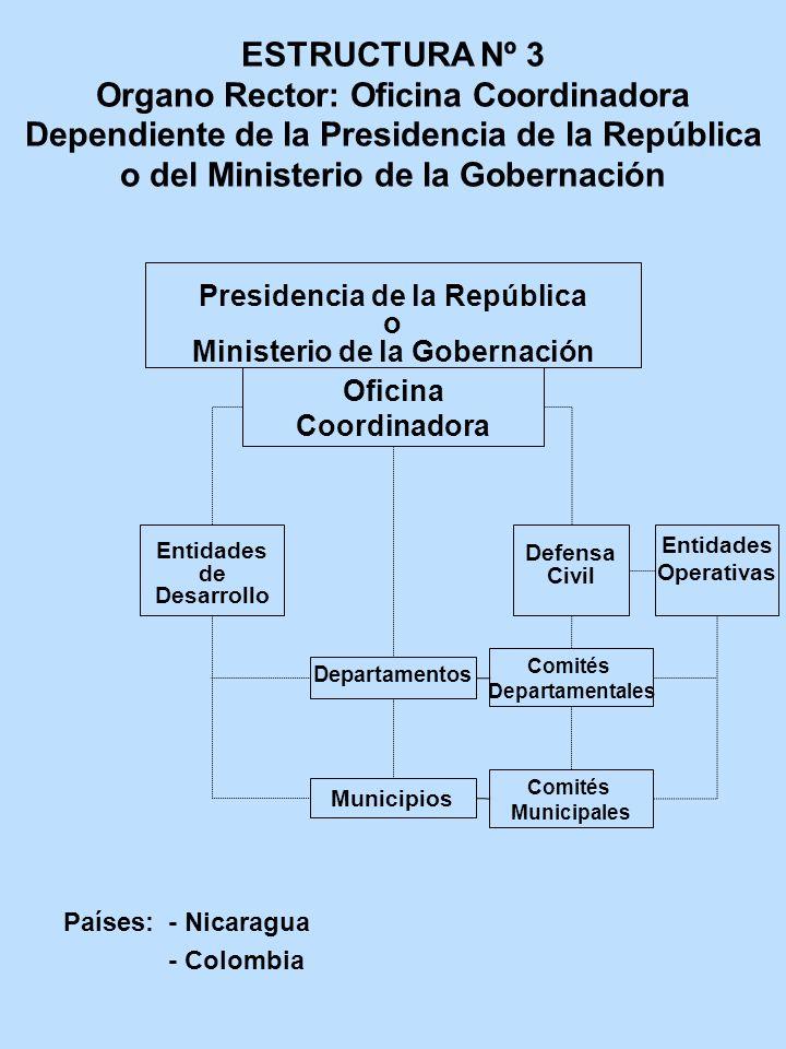 ESTRUCTURA Nº 3 Organo Rector: Oficina Coordinadora Dependiente de la Presidencia de la República o del Ministerio de la Gobernación Presidencia de la