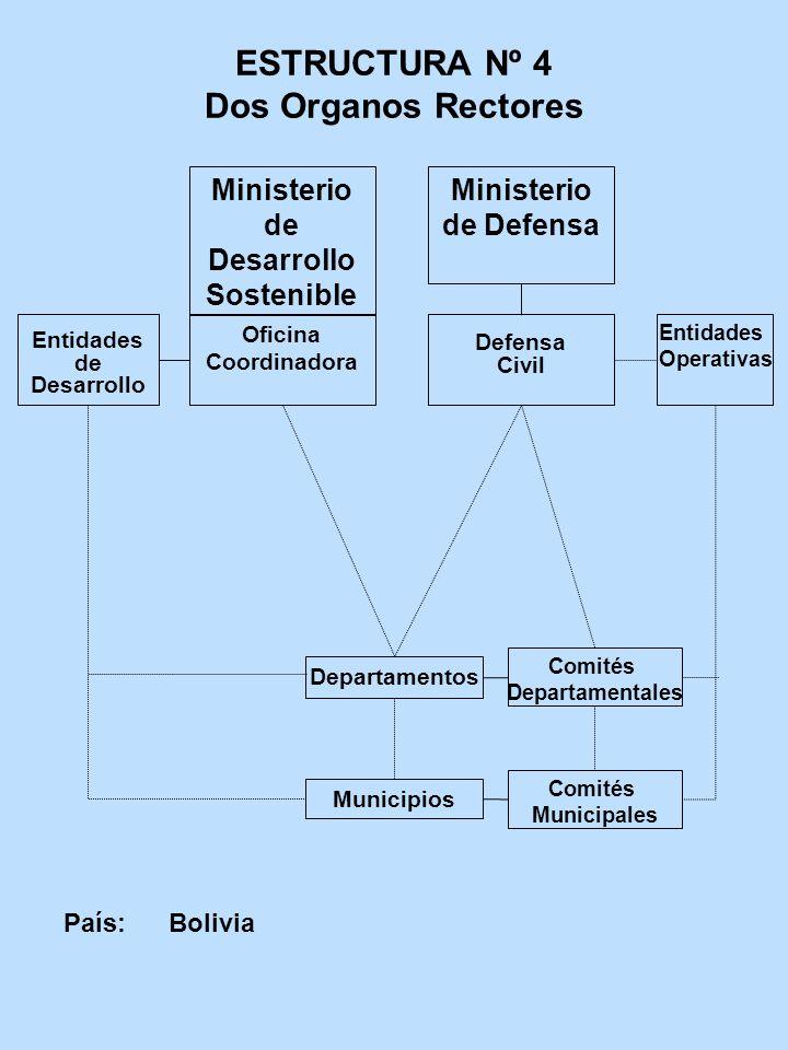 ESTRUCTURA Nº 4 Dos Organos Rectores Oficina Coordinadora Entidades de Desarrollo Defensa Civil Departamentos País: Bolivia Comités Departamentales En
