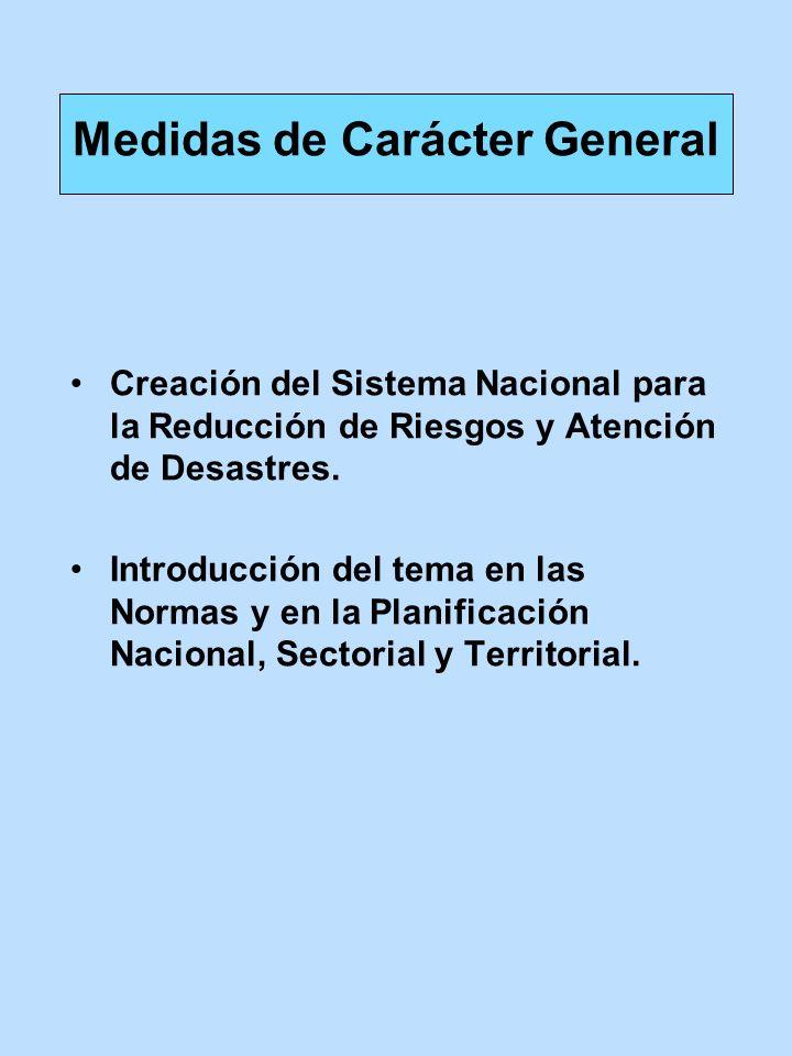 Creación del Sistema Nacional para la Reducción de Riesgos y Atención de Desastres. Introducción del tema en las Normas y en la Planificación Nacional