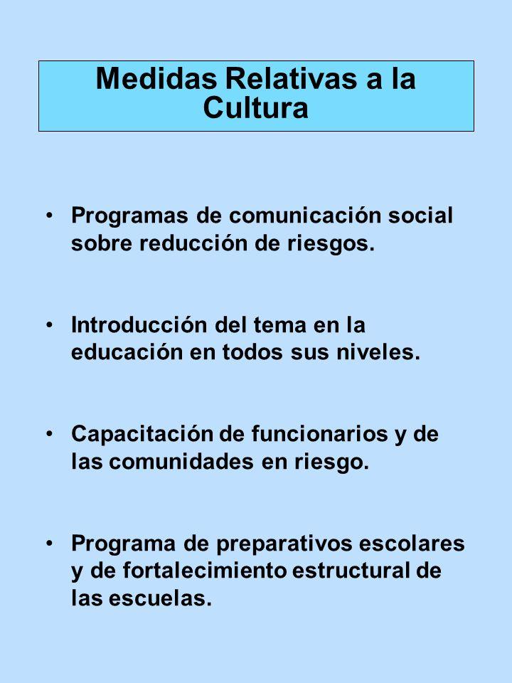 Programas de comunicación social sobre reducción de riesgos. Introducción del tema en la educación en todos sus niveles. Capacitación de funcionarios