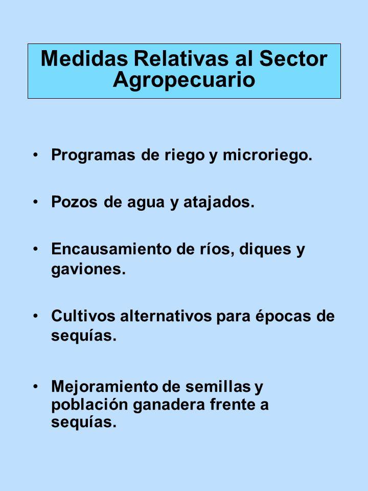 Programas de riego y microriego. Pozos de agua y atajados. Encausamiento de ríos, diques y gaviones. Cultivos alternativos para épocas de sequías. Mej