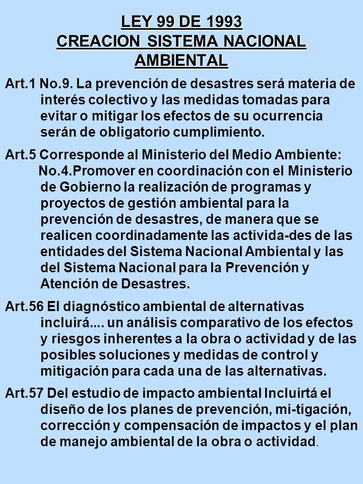 LEY 99 DE 1993 CREACION SISTEMA NACIONAL AMBIENTAL Art.1 No.9. La prevención de desastres será materia de interés colectivo y las medidas tomadas para