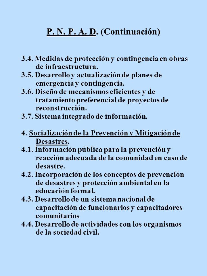 P. N. P. A. D P. N. P. A. D. (Continuación) 3.4. Medidas de protección y contingencia en obras de infraestructura. 3.5. Desarrollo y actualización de