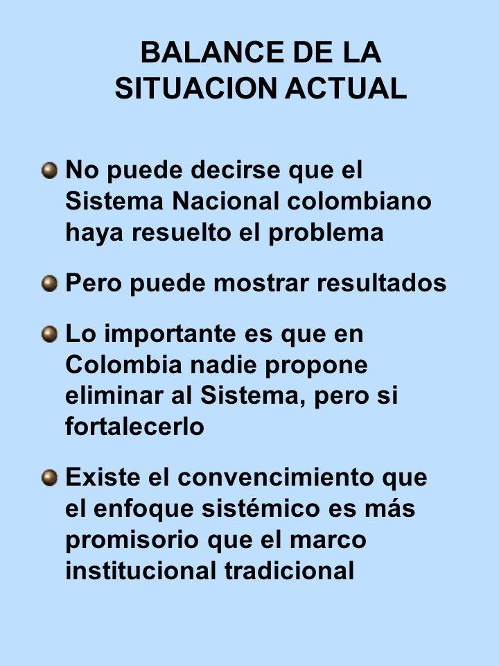 BALANCE DE LA SITUACION ACTUAL No puede decirse que el Sistema Nacional colombiano haya resuelto el problema Pero puede mostrar resultados Lo importan