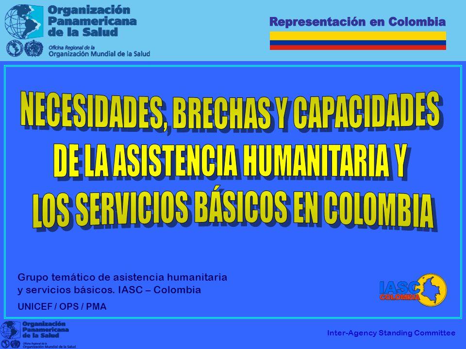NECESIDADES, BRECHAS Y CAPACIDADES DE LA ASISTENCIA HUMANITARIA Y LOS SERVICIOS BÁSICOS EN COLOMBIA I.Sector Salud II.Situación de las Poblaciones Objeto de la Asistencia Humanitaria en el Componente Temático de Salud III.Elementos principales del Análisis de Salud de la Población en situación de Desplazamiento IV.Marco Legal referente al componente temático de Salud V.Mapa de Capacidades Actuales para la respuesta humanitaria en Colombia en Salud VI.Principales brechas para llenar en la respuesta humanitaria en Salud OPS XXI EN ACCION