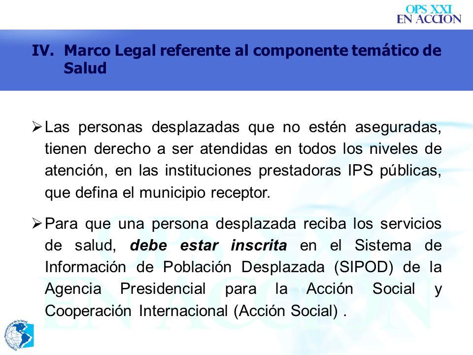 Las personas desplazadas que no estén aseguradas, tienen derecho a ser atendidas en todos los niveles de atención, en las instituciones prestadoras IP