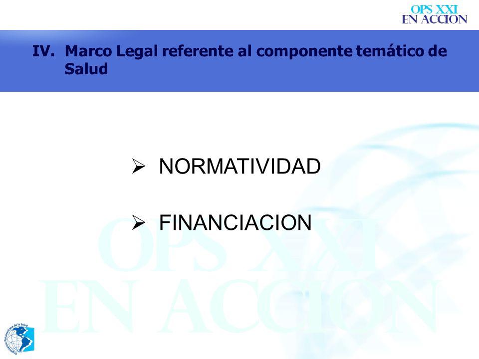 NORMATIVIDAD FINANCIACION IV.Marco Legal referente al componente temático de Salud