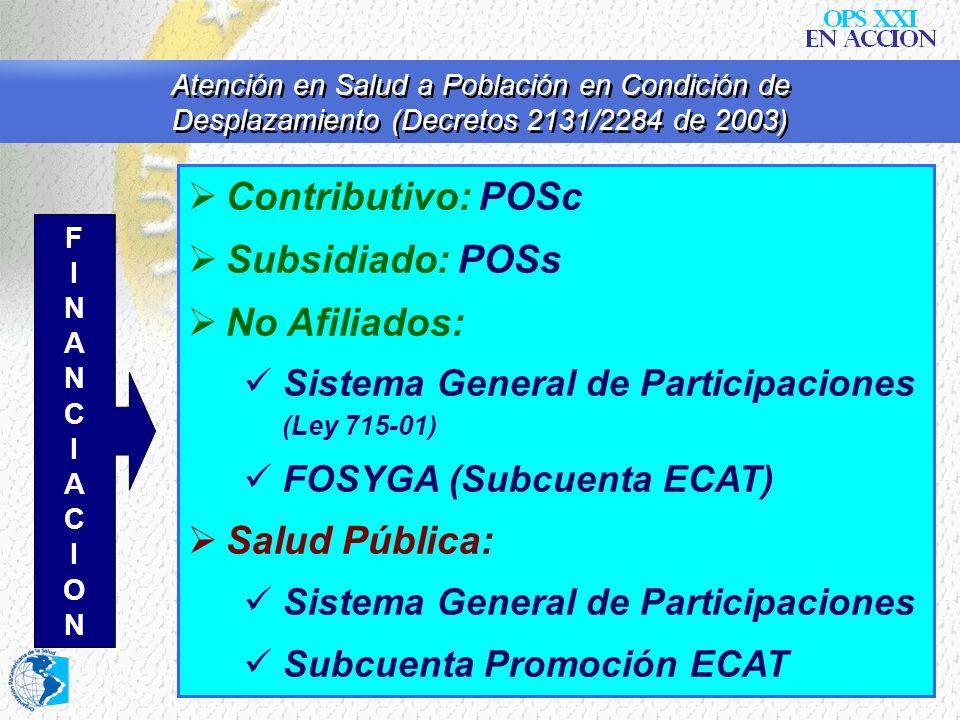 Atención en Salud a Población en Condición de Desplazamiento (Decretos 2131/2284 de 2003) Contributivo: POSc Subsidiado: POSs No Afiliados: Sistema Ge
