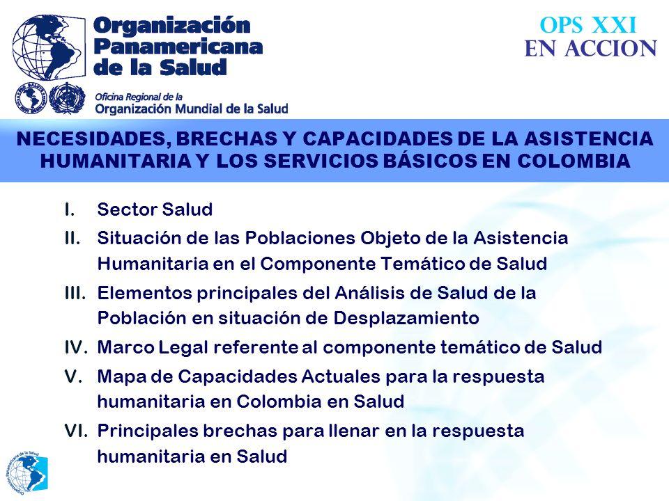 El documento recopila información disponible en la Evaluación Conjunta de País (CCA: OPS-MPS), las bases de datos de OCHA, los estudios de la OPS sobre salud y desplazamiento, los estudios de Profamilia y del PMA, y los aportes recogidos mediante entrevistas a informantes clave de diferentes agencias y organizaciones no gubernamentales involucradas en la asistencia humanitaria en el sector salud en Colombia.