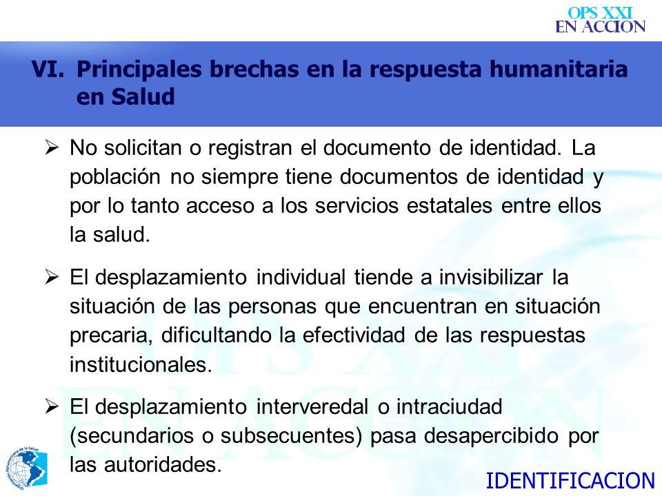 VI.Principales brechas en la respuesta humanitaria en Salud No solicitan o registran el documento de identidad. La población no siempre tiene document
