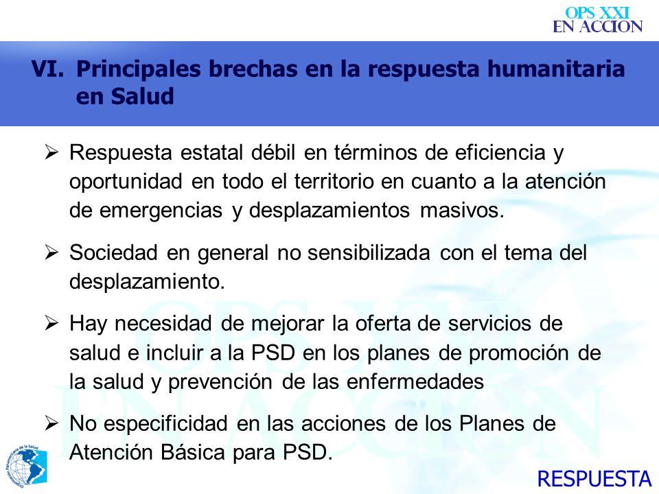 VI.Principales brechas en la respuesta humanitaria en Salud Respuesta estatal débil en términos de eficiencia y oportunidad en todo el territorio en c