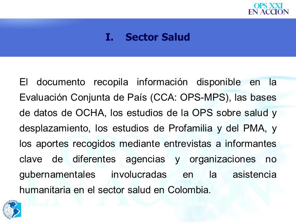 El documento recopila información disponible en la Evaluación Conjunta de País (CCA: OPS-MPS), las bases de datos de OCHA, los estudios de la OPS sobr