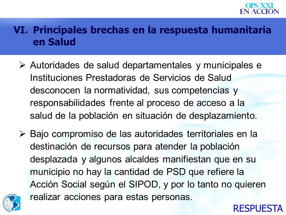 VI.Principales brechas en la respuesta humanitaria en Salud Autoridades de salud departamentales y municipales e Instituciones Prestadoras de Servicio