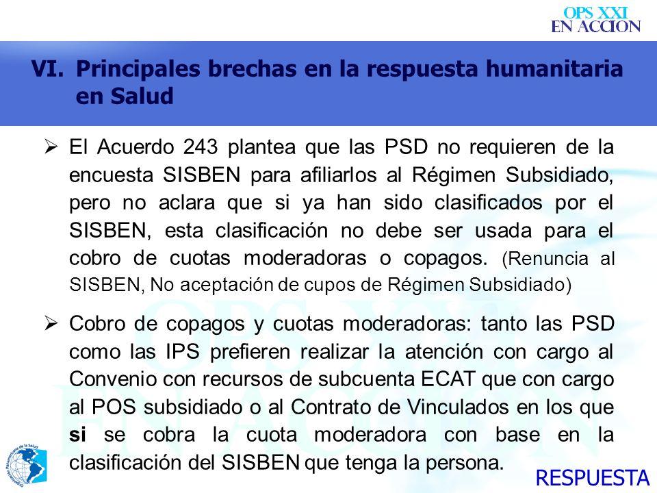 VI.Principales brechas en la respuesta humanitaria en Salud El Acuerdo 243 plantea que las PSD no requieren de la encuesta SISBEN para afiliarlos al R