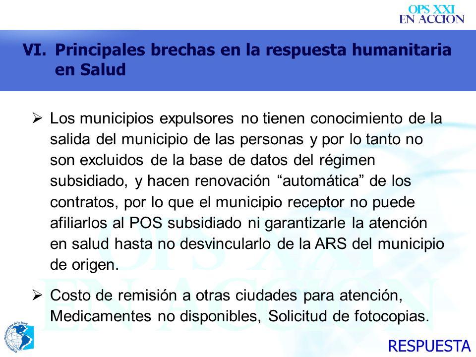 VI.Principales brechas en la respuesta humanitaria en Salud Los municipios expulsores no tienen conocimiento de la salida del municipio de las persona