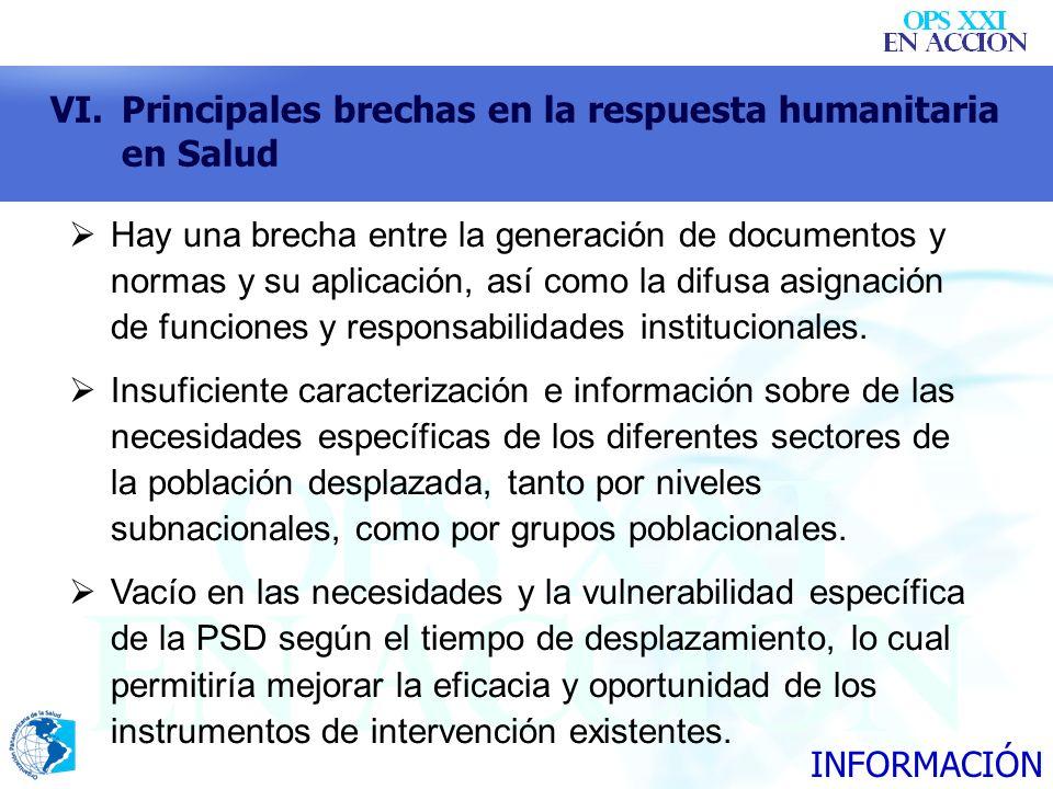 VI.Principales brechas en la respuesta humanitaria en Salud Hay una brecha entre la generación de documentos y normas y su aplicación, así como la dif