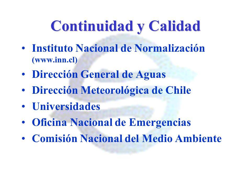 Continuidad y Calidad Instituto Nacional de Normalización (www.inn.cl) Dirección General de Aguas Dirección Meteorológica de Chile Universidades Ofici