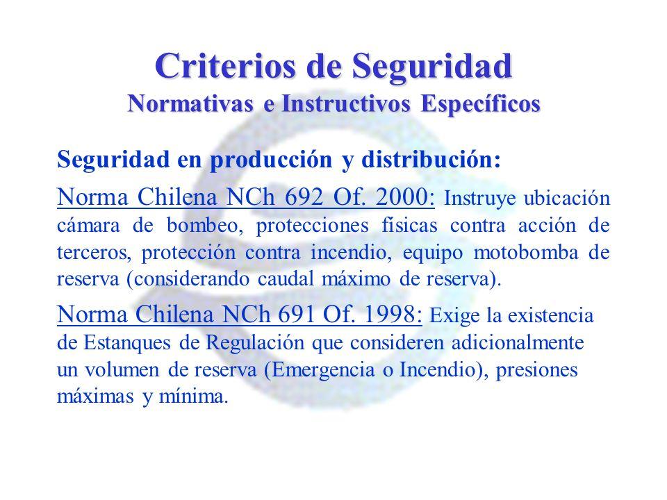 Criterios de Seguridad Normativas e Instructivos Específicos Seguridad en producción y distribución: Norma Chilena NCh 692 Of. 2000: Instruye ubicació