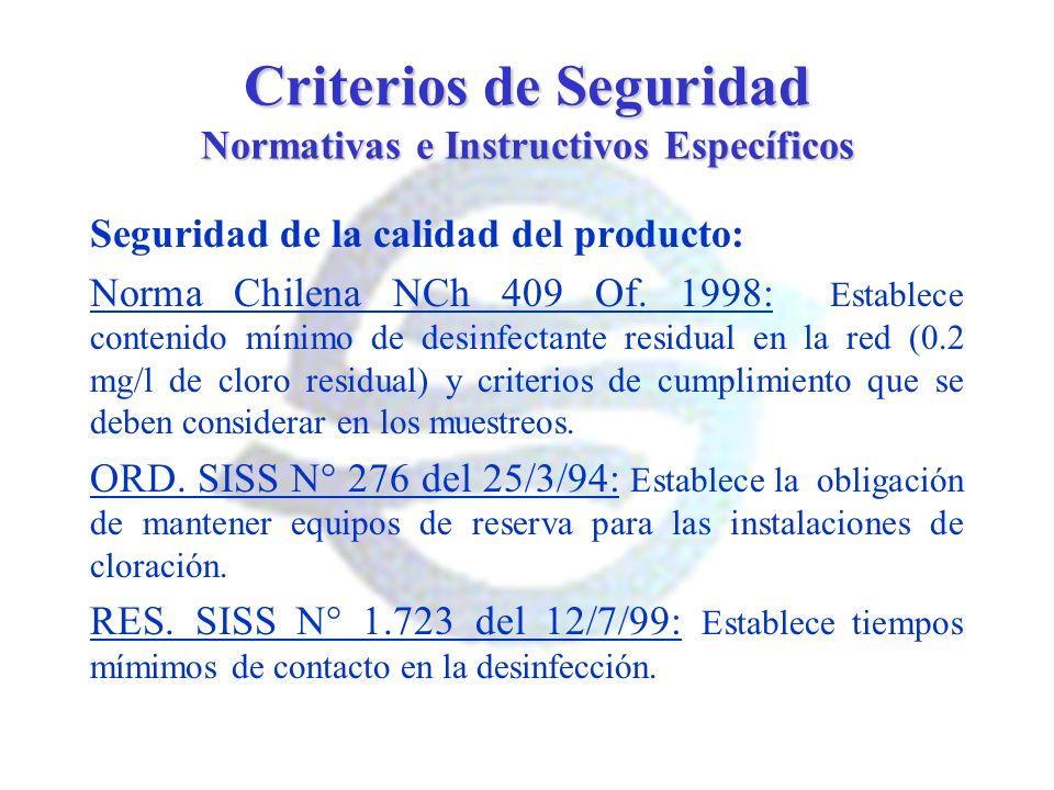 Criterios de Seguridad Normativas e Instructivos Específicos Seguridad de la calidad del producto: Norma Chilena NCh 409 Of. 1998: Establece contenido