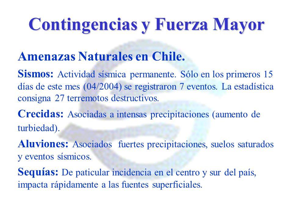 Contingencias y Fuerza Mayor Amenazas Naturales en Chile. Sismos: Actividad sísmica permanente. Sólo en los primeros 15 días de este mes (04/2004) se