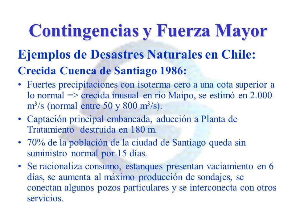 Contingencias y Fuerza Mayor Ejemplos de Desastres Naturales en Chile: Crecida Cuenca de Santiago 1986: Fuertes precipitaciones con isoterma cero a un
