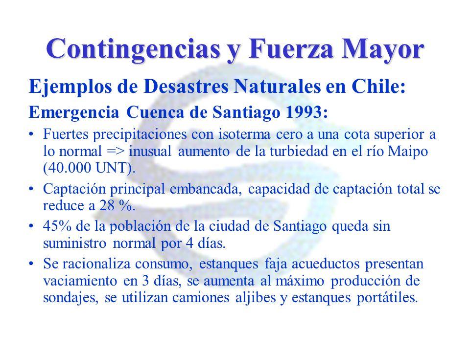 Contingencias y Fuerza Mayor Ejemplos de Desastres Naturales en Chile: Emergencia Cuenca de Santiago 1993: Fuertes precipitaciones con isoterma cero a