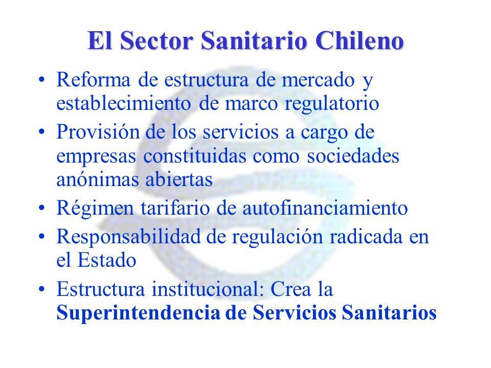 El Sector Sanitario Chileno Reforma de estructura de mercado y establecimiento de marco regulatorio Provisión de los servicios a cargo de empresas con