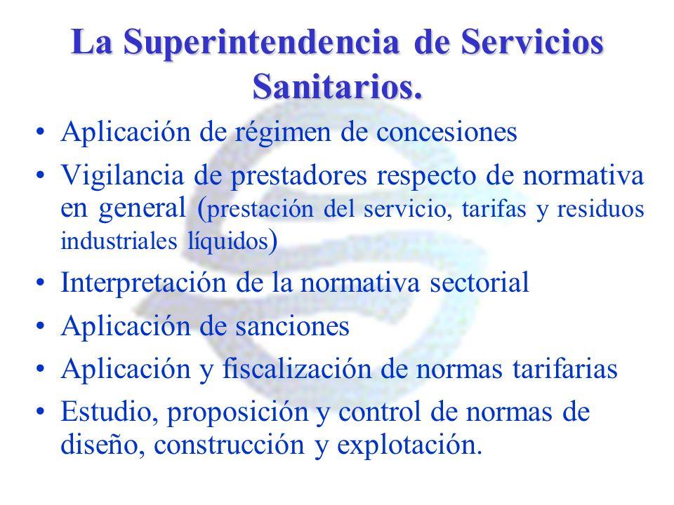 La Superintendencia de Servicios Sanitarios. Aplicación de régimen de concesiones Vigilancia de prestadores respecto de normativa en general ( prestac