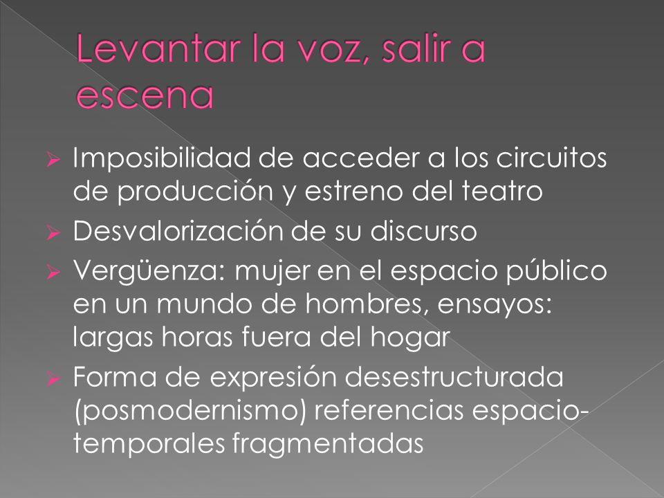 Imposibilidad de acceder a los circuitos de producción y estreno del teatro Desvalorización de su discurso Vergüenza: mujer en el espacio público en u