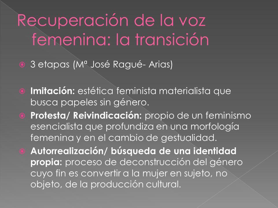 3 etapas (Mª José Ragué- Arias) Imitación: estética feminista materialista que busca papeles sin género. Protesta/ Reivindicación: propio de un femini