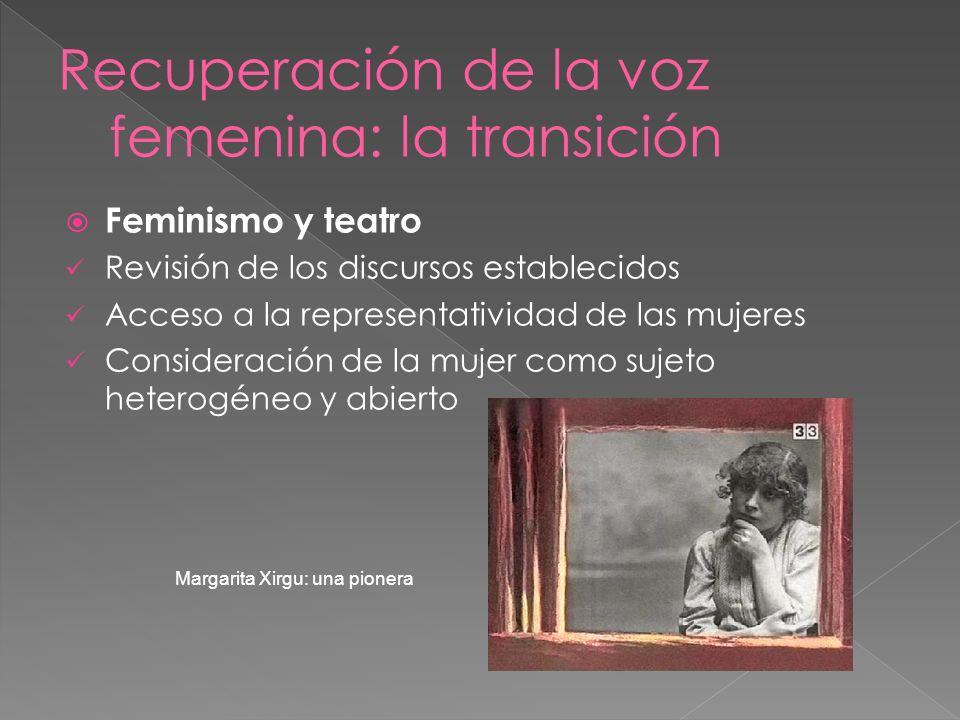 Feminismo y teatro Revisión de los discursos establecidos Acceso a la representatividad de las mujeres Consideración de la mujer como sujeto heterogén